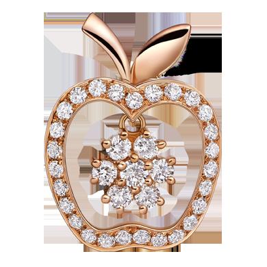 苹果钻石吊坠系列——【焦点】18K金钻石吊坠
