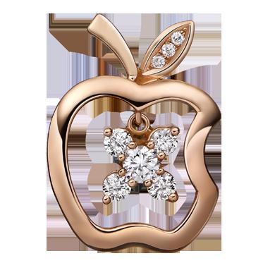 苹果钻石吊坠系列——【芬芳】18K金钻石吊坠