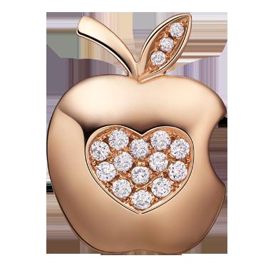 苹果钻石吊坠系列——【心爱】18K金钻石吊坠